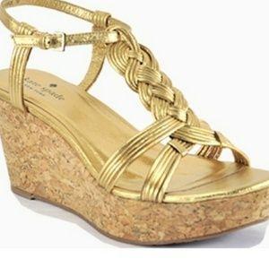 KATE SPADE gold becca wedge sandal